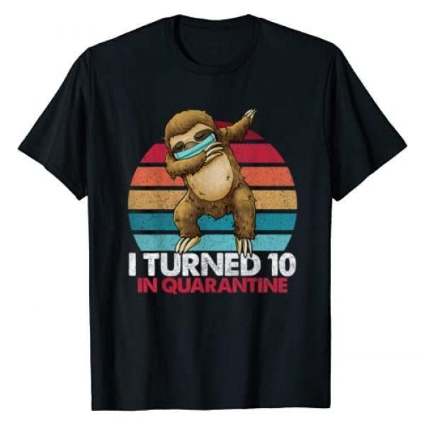 Dabbing Sloth Vintage Birthday Shirts By Hannah Graphic Tshirt 1 I Turned 10 In Quarantine Dabbing Sloth 10th Birthday Kids T-Shirt