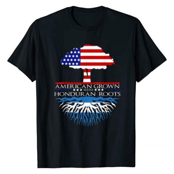 InGENIUS Honduran American Ancestry Gifts Graphic Tshirt 1 Honduran Roots American Grown US Honduras Caribbean Flag T-Shirt