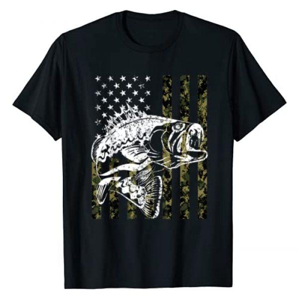 Fishing T-shirt Graphic Tshirt 1 Fishing Tshirt Camouflage USA Flag for Bass Fisherman Gifts