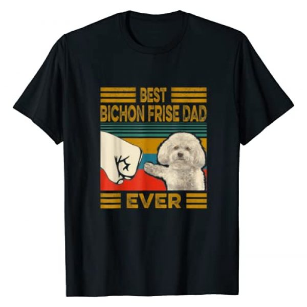 Funny Bichon Frise Dad Vintage Gift Tee Shirt Graphic Tshirt 1 Best Bichon Frise Dad Ever Retro Vintage T-Shirt