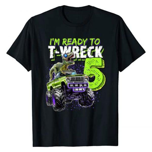 Monster Truck Dinosaur Birthday Apparel Graphic Tshirt 1 Ready to T-Wreck 5 Dinosaur Monster Truck 5th Birthday Boys T-Shirt
