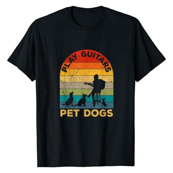 Funny Music Guitar Gifts ideas Graphic Tshirt 1 Vintage Play Guitars Pet Dogs - Dog and Music Lovers gifts T-Shirt