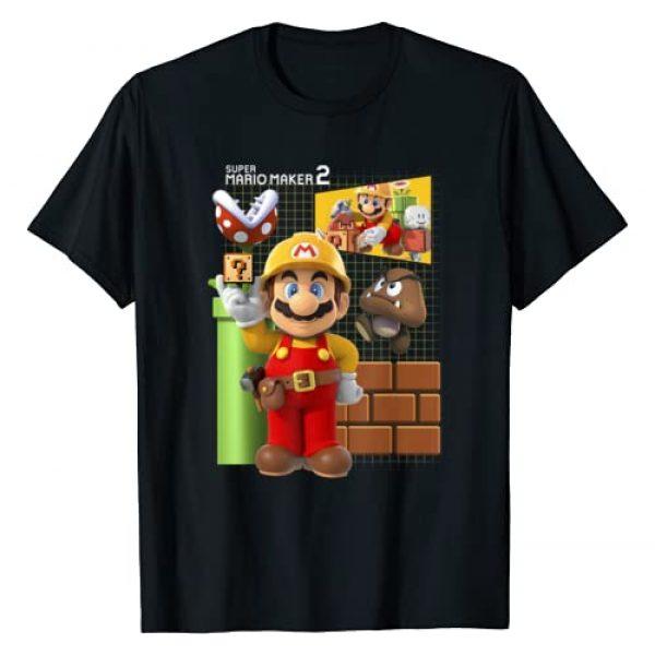 SUPER MARIO Graphic Tshirt 1 Maker 2 Game Play Portrait Grid Background T-Shirt