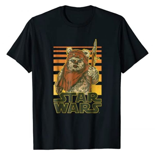 Star Wars Graphic Tshirt 1 Wicket Retro Ewok Sunset Halftone Graphic T-Shirt
