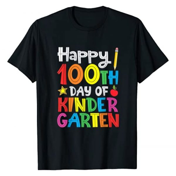 Happy 100th Day of School T Graphic Tshirt 1 Happy 100th Day of Kindergarten Teacher or Student T-Shirt