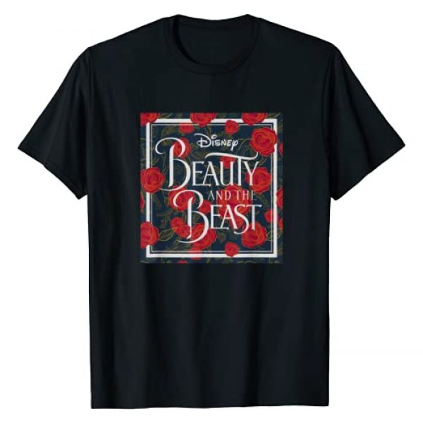 Disney Graphic Tshirt 1 Beauty & The Beast Rose Patterned Box Graphic T-Shirt