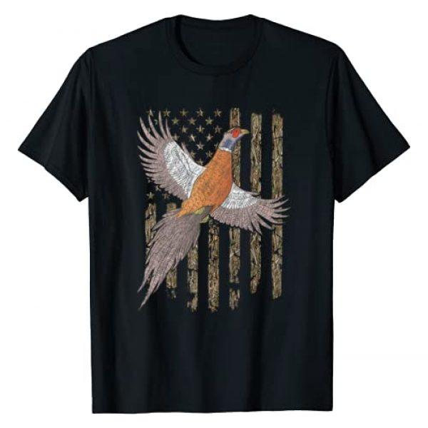 Pheasant Hunter Ringneck Bird Hunting Gift For Men Graphic Tshirt 1 Usa American Flag Tree Camouflage Pheasant Hunting Gift T-Shirt