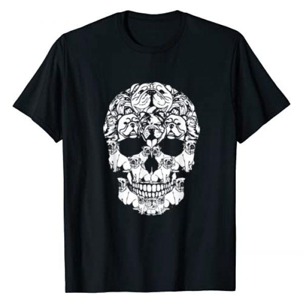 Funny Halloween Dog Lover Gift Skeleton Dogs Shirt Graphic Tshirt 1 Skull English Bulldog Dog Gifts Funny Halloween Costume T-Shirt