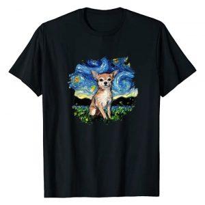 Sagittarius Gallery Graphic Tshirt 1 Tan Chihuahua Starry Night Impressionist Dog Art by Aja T-Shirt