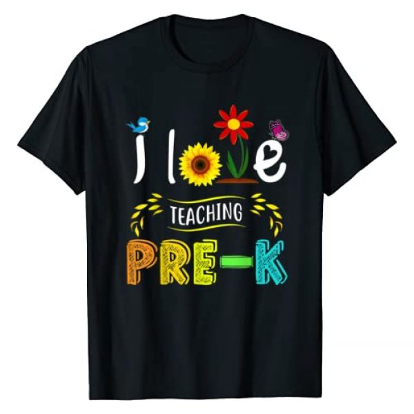 Back To School Preschool Teacher Funny Shirts Graphic Tshirt 1 I Love Teaching Pre-K Sunflower Lover for Preschool Teacher T-Shirt