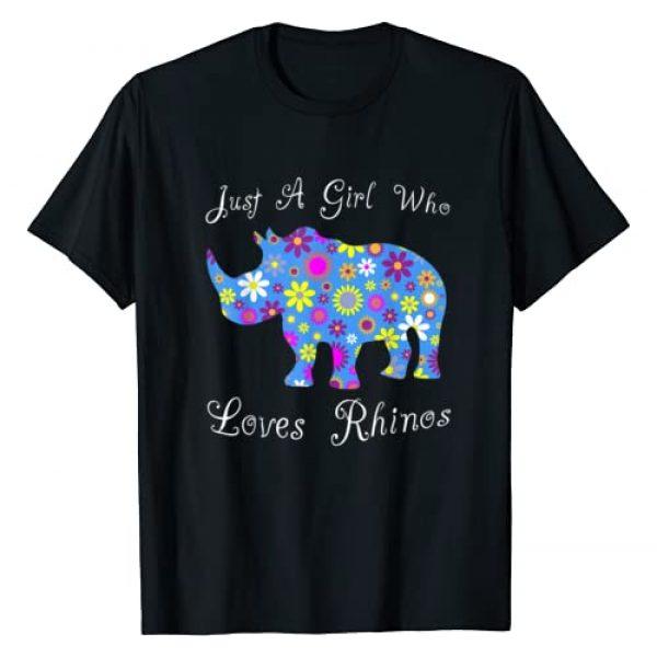 Cartba Rhino Co. Graphic Tshirt 1 Rhinoceros Gifts Women - Cute Just A Girl Who Loves Rhinos T-Shirt