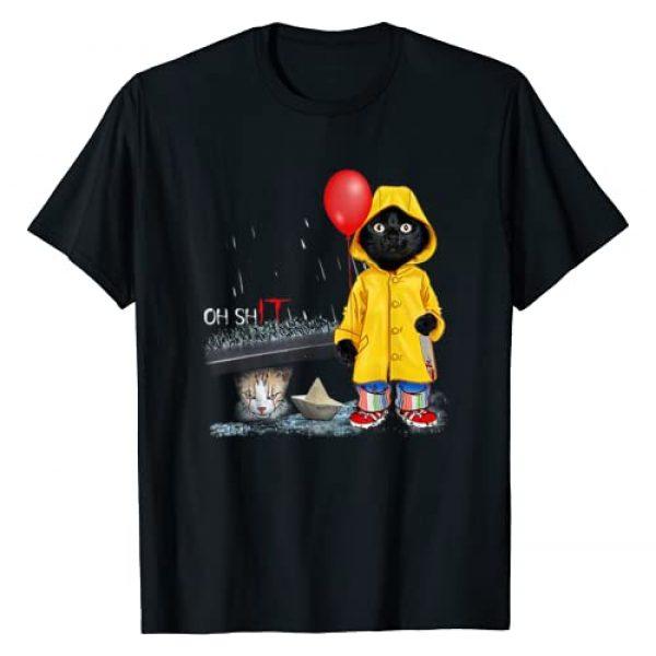 Funny Cat Clown Cat Wear Raincoat Tee Shirt Graphic Tshirt 1 Oh Shit Cat Clown Cat Wear Raincoat T-Shirt