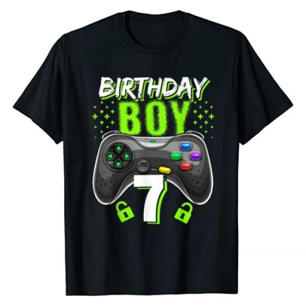 Birthday Gamer Apparel Graphic Tshirt 1 Birthday Boy 7 Video Game Controller Gamer 7th Birthday Gift T-Shirt