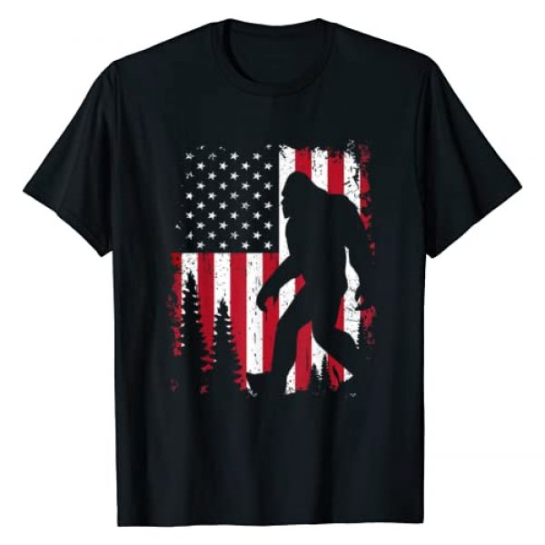Bigfoot Lover Gift Ideas Graphic Tshirt 1 Bigfoot 4th of July American USA Flag Patriotic Kids T-Shirt