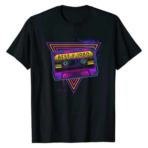 Retro Cassette 40th Birthday Gifts Graphic Tshirt 1 Best Of 1980 40th Birthday Gifts Cassette Tape Vintage T-Shirt