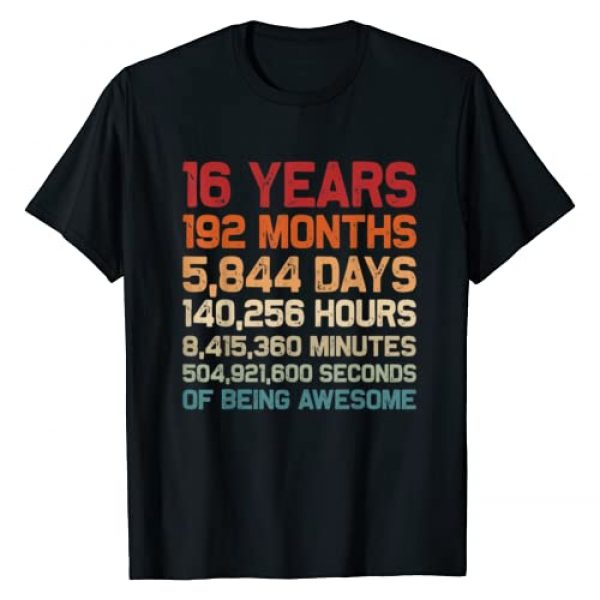 16 Years Old 16th Birthday Gifts Apparel Co. Graphic Tshirt 1 Vintage 16 Years of Being Awesome Unique 16th Birthday Gifts T-Shirt