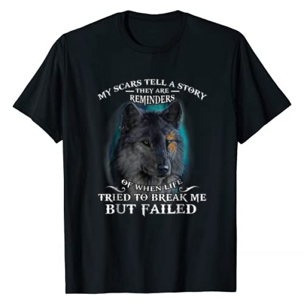 KoolTees123 Graphic Tshirt 1 Wolf lover Tee My scar tell a story T-Shirt