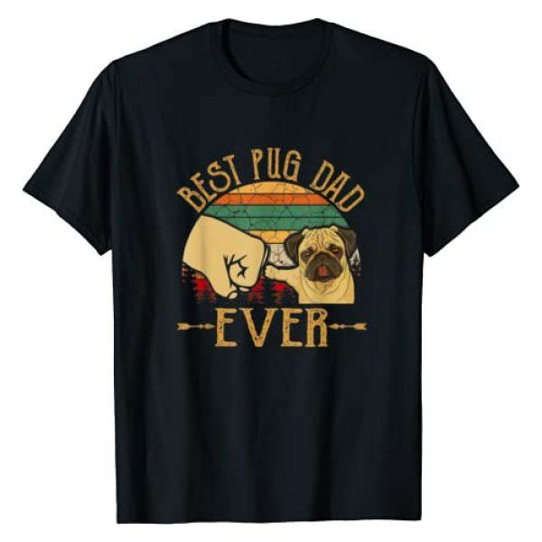 Retro Vintage Dogs Lover Graphic Tshirt 1 Retro Vintage Best Pug Dad Ever T-Shirt
