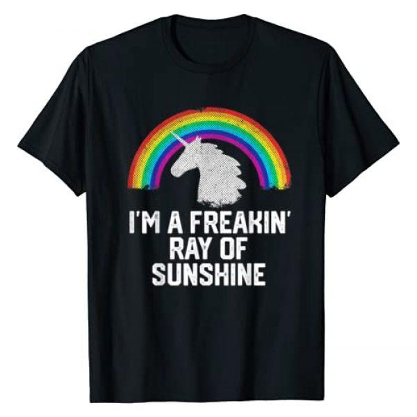The Unicorn Rainbow Gift Graphic Tshirt 1 I'M A FREAKIN RAY OF SUNSHINE Rainbow Unicorn Girls Women T-Shirt