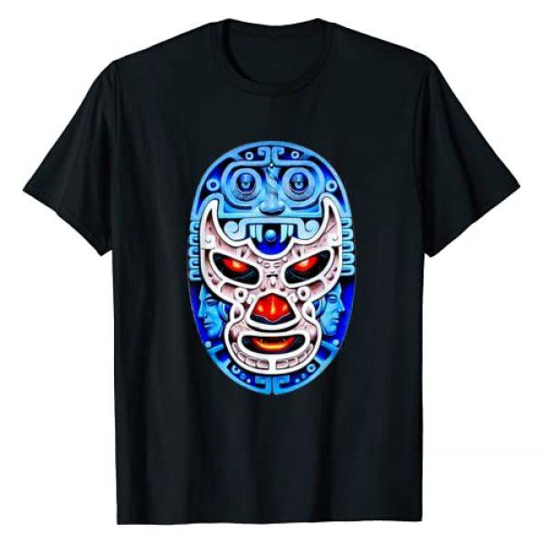 Feel-Ink Lucha Libre Mexicana Mexican Wrestling Graphic Tshirt 1 Feel-Ink Demon Blue Lucha Libre Wrestler Aztec Design T-Shirt