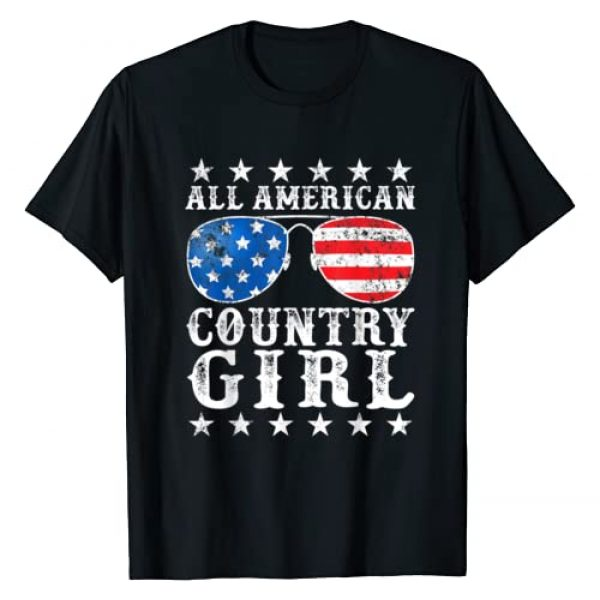 All American Boy Girl Gifts Graphic Tshirt 1 All American Country Girl 4th of July USA Flag Girls Gift T-Shirt
