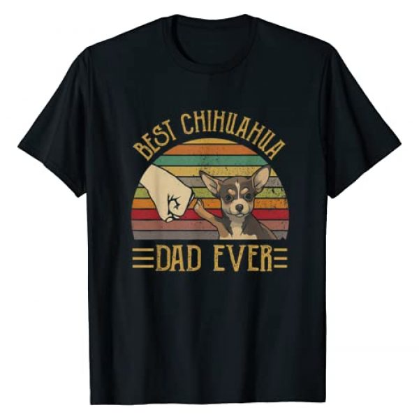 Best Chihuahua Dad Ever Graphic Tshirt 1 Retro Vintage Sunset T-Shirt