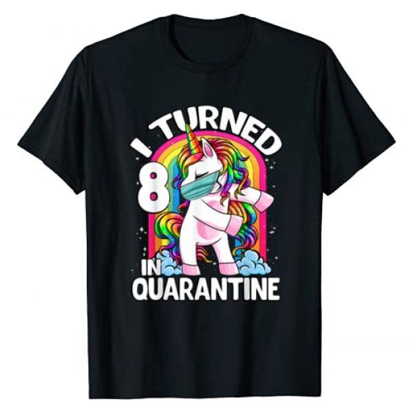 Unicorn Dabbing and Flossing CC Graphic Tshirt 1 I Turned 8 In Quarantine 2020 Flossing Unicorn 8th Birthday T-Shirt