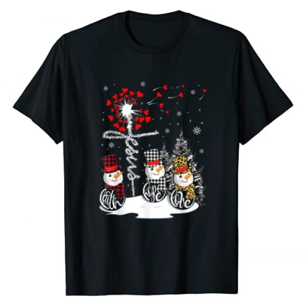 Faith Hope Love Snowman Jesus Dandelion Christmas Graphic Tshirt 1 Faith Hope Love Snowman Jesus Dandelion Christian Christmas T-Shirt