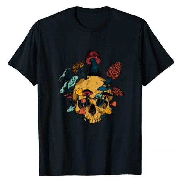 Skull Mushroom Vintage Distressed Shirt Graphic Tshirt 1 Skull Morels Mushroom Retro Vintage Shirt Gift For Gardening T-Shirt