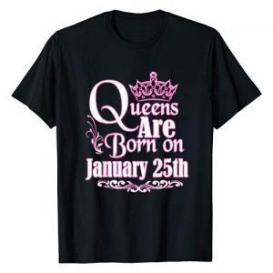 Birthday Queen Shirt Tee Kaboom! Graphic Tshirt 1 Queens Are Born January 25th Capricorn Aquarius Birthday T-Shirt
