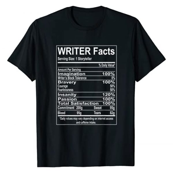 English Literature and Writing Teez Graphic Tshirt 1 Writer Facts Storyteller Nutrition Information T-Shirt