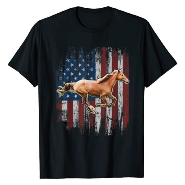 Patriotic Horse Apparel Graphic Tshirt 1 Patriotic Horse American Flag Horseback Riding Farm Gift T-Shirt