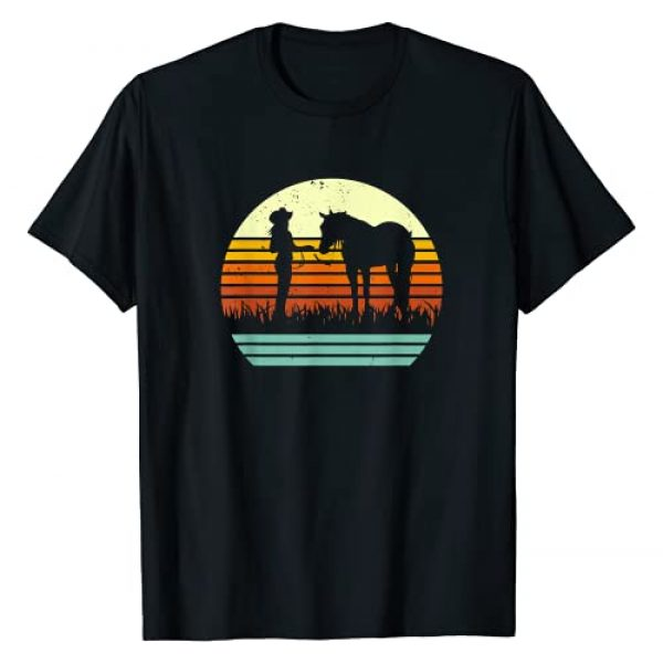 Show Horse and Rider Shirt and Gift Co. Graphic Tshirt 1 Western Halter Horse Retro Sun Style T-Shirt