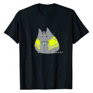 SWAGAZON Graphic Tshirt 1 Chubby Kitten Wearing Safety Vest Funny T-Shirt