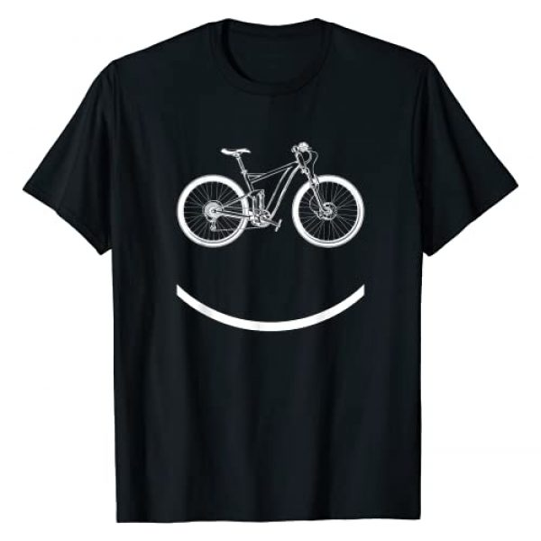 Smiley Mountain Bike Cyclist Cool Gifts Graphic Tshirt 1 Bike Smiley Face Funny MTB Cycling Gift T-Shirt