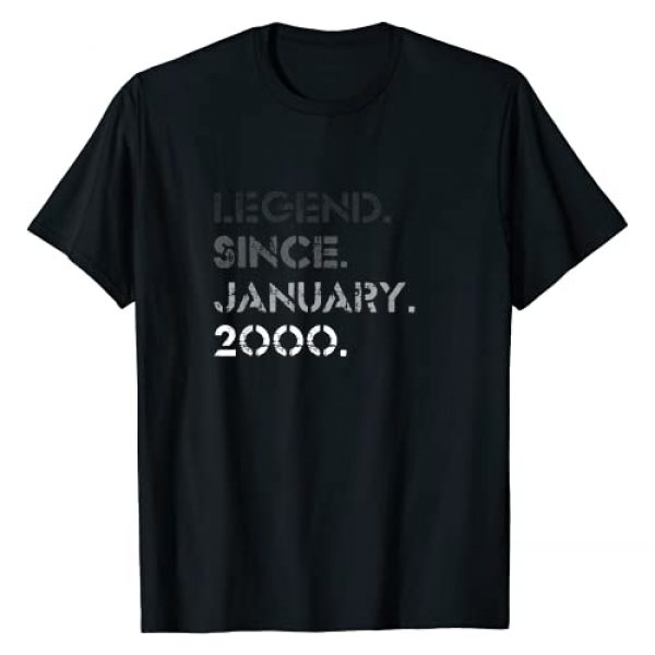 Legend January 2000 21st Bday T-Shirt For Him Her Graphic Tshirt 1 Legend Vintage January 2000 21 Years Old 21st Birthday Gifts T-Shirt