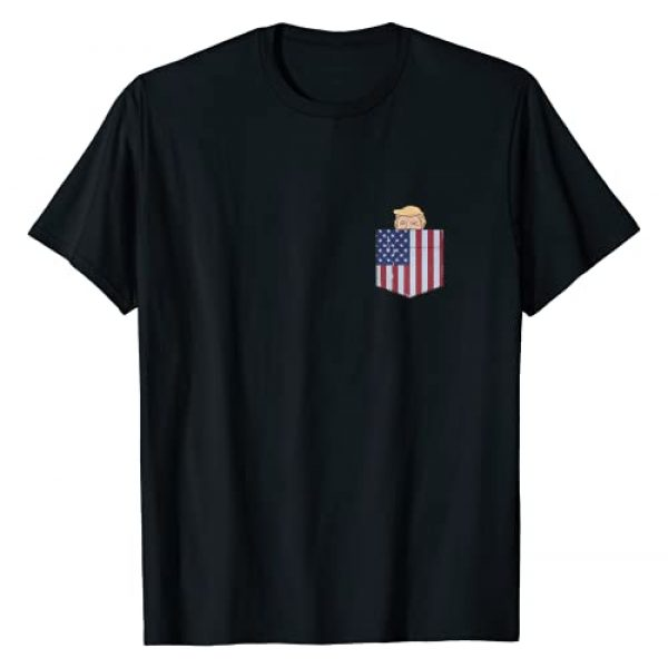Pro Trump Election NovelTees Graphic Tshirt 1 Trump In Your Pocket USA Flag Funny Trump Peeking Pocket T-Shirt