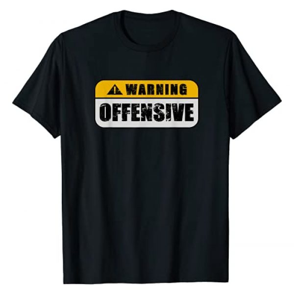 Warning Offensive Fun Gear Co. Graphic Tshirt 1 Warning Offensive Sign Funny Joke Distressed T-Shirt
