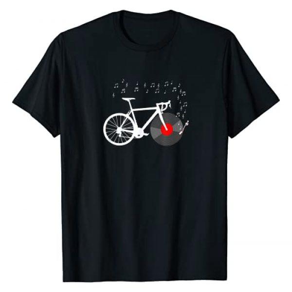 Funny DJ Bicycle Cycle Biking Music Bike Gift Idea Graphic Tshirt 1 Bicycle Cycling Road Bike Vinyl Record Player Music Cyclist T-Shirt