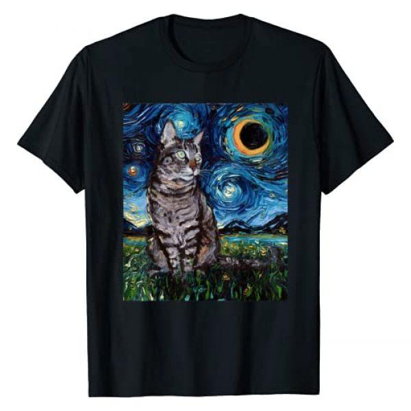 Sagittarius Gallery Graphic Tshirt 1 Gray Tabby Tiger Cat Starry Night Moon and Stars Art by Aja T-Shirt