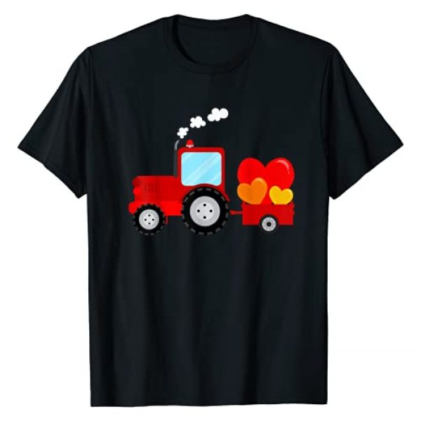 Funny Valentine's Day 2021 Gift Designs Graphic Tshirt 1 Valentines Day 2021 Tractor with Heart Gift Kids Boys T-Shirt