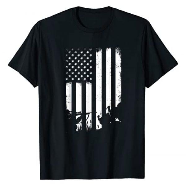 Lai Tees US Graphic Tshirt 1 Cool Distressed Vintage USA Flag Turkey Hunting T-Shirt