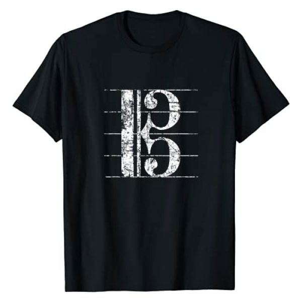 Viola T-Shirts & Gifts for Violists Graphic Tshirt 1 Alto Clef (Vintage White) Viola Violist T-Shirt