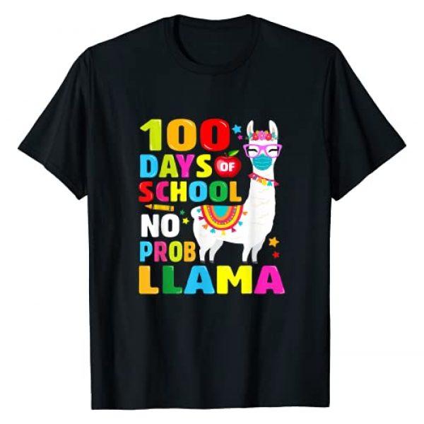 100th Day Of School Llama Students - Teacher Gift Graphic Tshirt 1 100 Days of School Shirt No Probllama Llama Face-Mask Gift T-Shirt