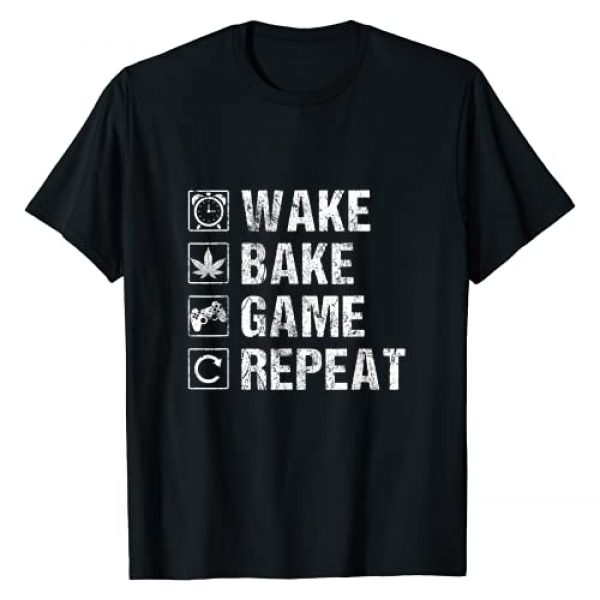 Cannabis CBD Oil Joke Quote Gifts and Accessories Graphic Tshirt 1 Wake Bake Game Repeat   Video Game Weed Smoker Pot Gift T-Shirt