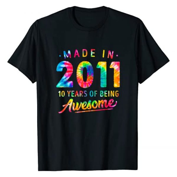 10th Birthday Dye Gifts Graphic Tshirt 1 10 Years Old 10th Birthday Made 2011 Tie Dye Gift Men Women T-Shirt
