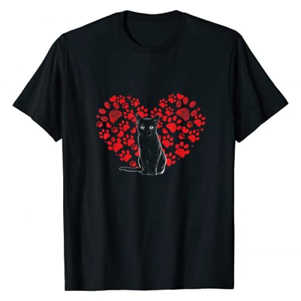 Valentines Day Cat Lover Heart Paw Gifts Graphic Tshirt 1 Valentines Day Cat Lover Heart Paw Shirt Gift Cat Dad Mom T-Shirt
