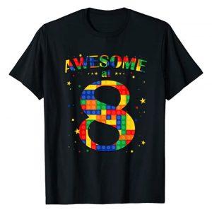 8th Birthday Building Blocks Brick Theme Party Graphic Tshirt 1 Building Blocks Bricks Awesome at 8 Years Old Birthday Boy T-Shirt