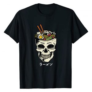 Ramen Shirts by MV&SG Graphic Tshirt 1 Vintage Japanese Ramen Noodles Skull Brain Graphic T-Shirt