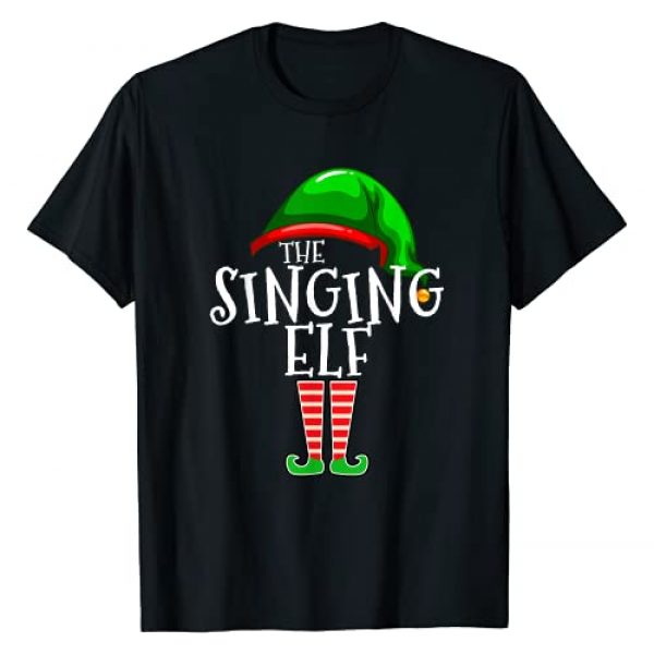 The Christmas Elf Family Holiday Gift Apparel Co. Graphic Tshirt 1 The Singing Elf Group Matching Family Christmas Gifts Singer T-Shirt